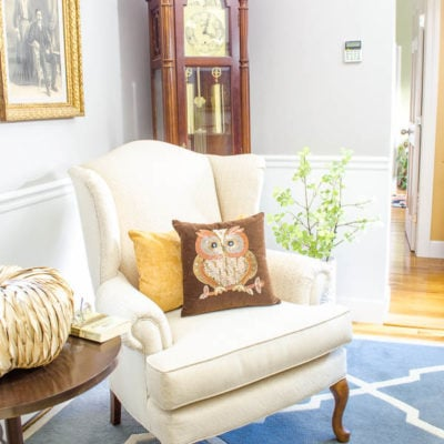 Mom's small living room makeover {gray + white}