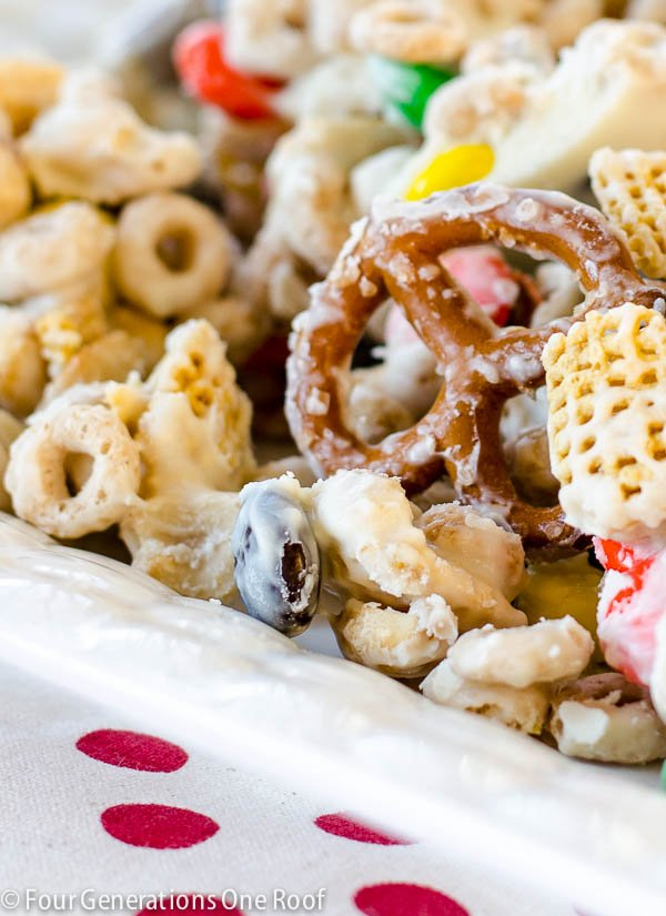 Chex party mix with melted chocolate