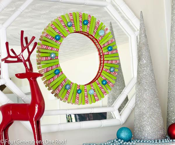 DIY Clothes Pin Christmas Wreath