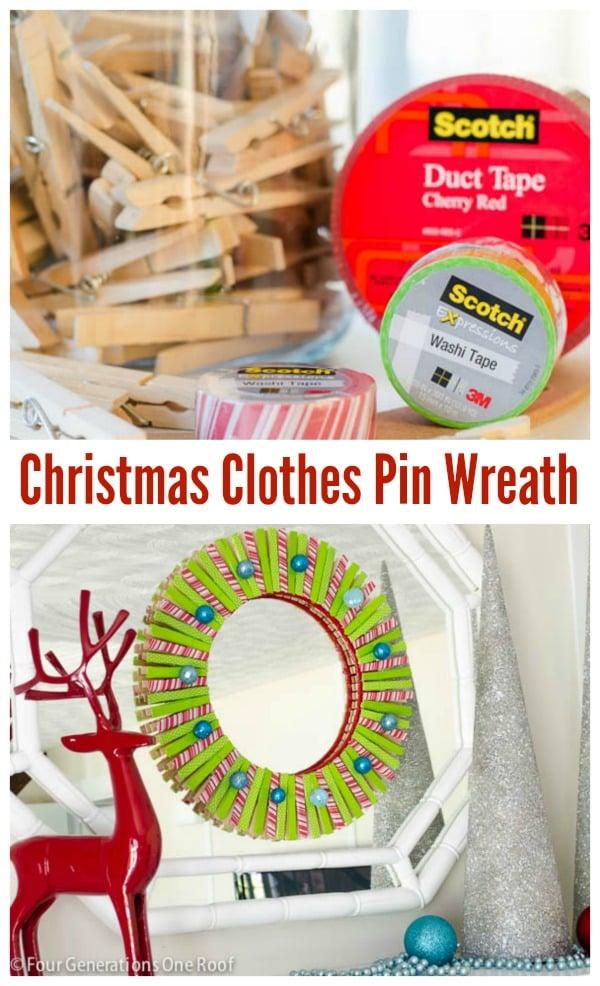 Diy Christmas Clothes pin wreath