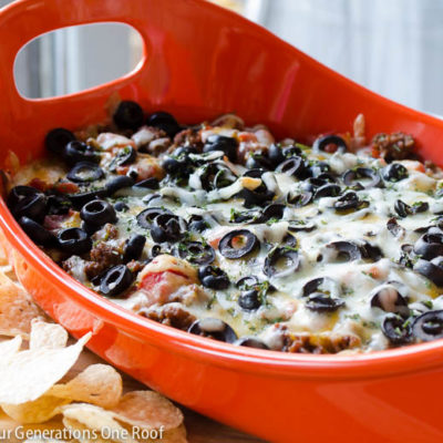 Quick 7 layer dip {hot + cheesy}