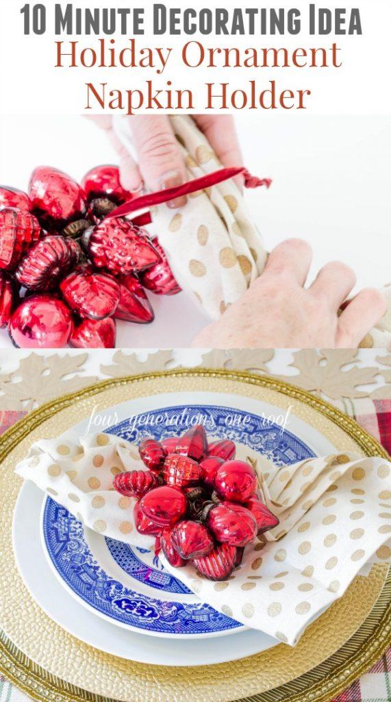 Gorgeous DIY ornament napkin holder