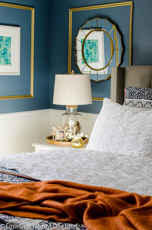 Gorgeous Navy Blue Gold Master Bedroom Makeover Four Generations One Roof