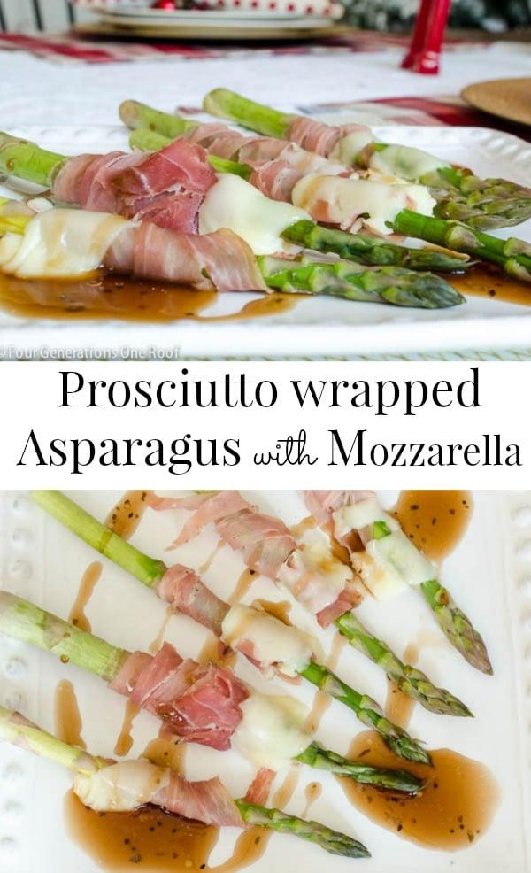Prosciutto wrapped asparagus with mozzarella