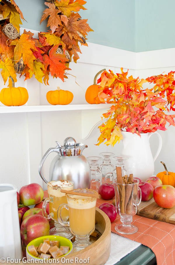 Hot apple cider station | Hot apple Cider Recipe | Fun Kitchen Island Fall Snack Station