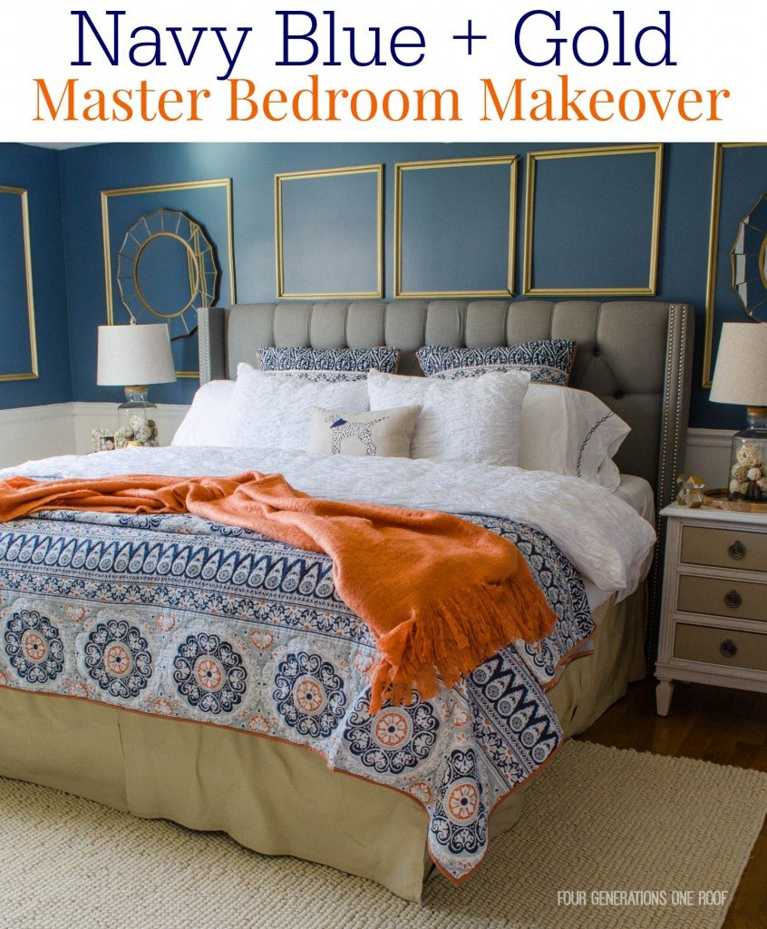 Gorgeous Navy Blue Gold Master Bedroom Makeover