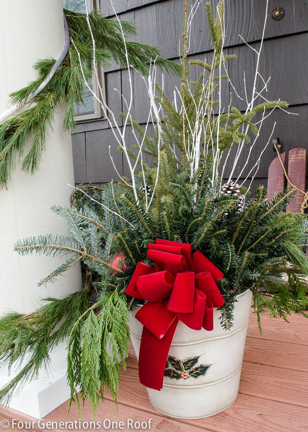4 generations Christmas Home Tour part 2 bucket full of lush greens