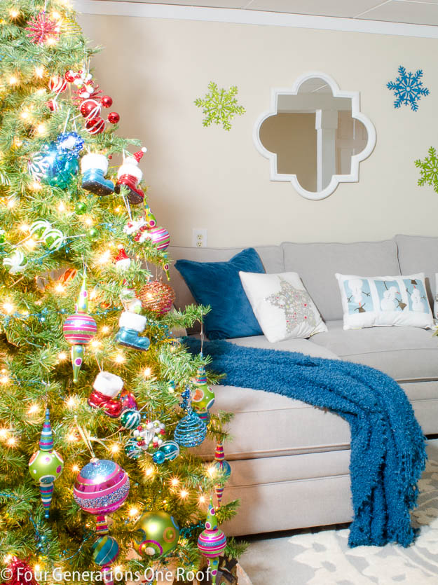 4 generations Christmas Home Tour / colorful basement living room