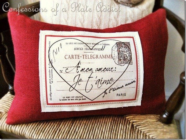 Decorating for Valentine's Day - French-valentine-pillow