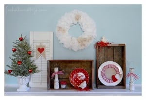 Valentine's Day Mantel Scape Decor Rustic Red Vintage Cottage