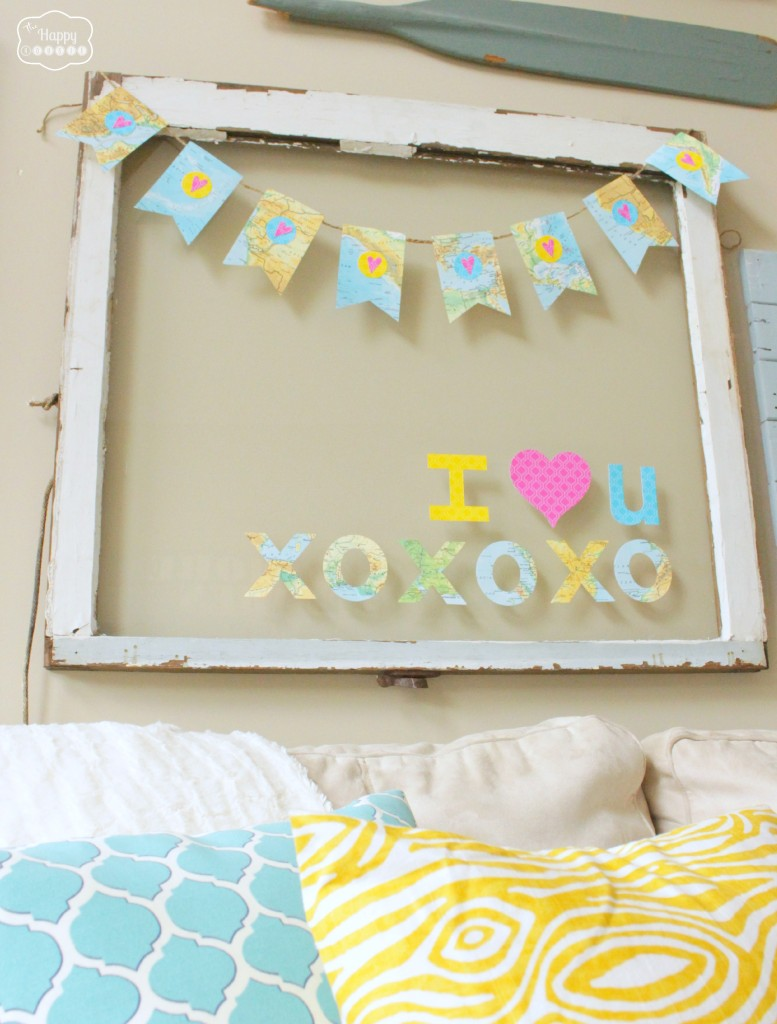Decorating for Valentine's Day - map-heart-bunting
