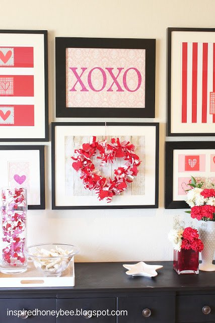 Valentine gallery wallDecorating for Valentine s Day  40 Ideas for Your Home   Four  . Valentine Home Decorating Ideas. Home Design Ideas