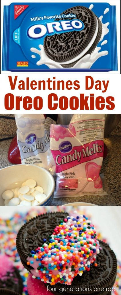How to make Valentines Day Oreo Cookies dipped in White Chocolate. Easy and perfect for a kids party at school.