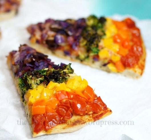 Rainbow-Veggie-Flatbread-Pizza