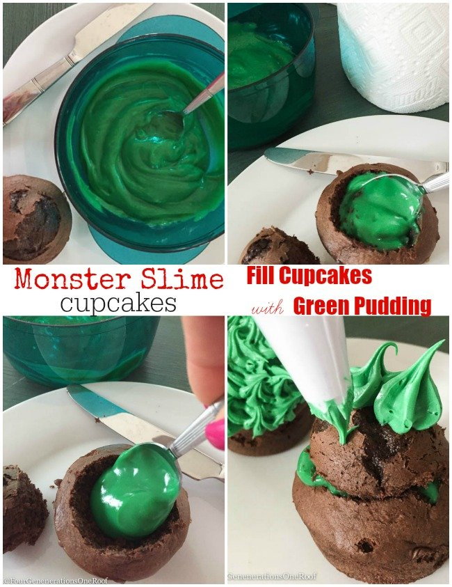 monster slime cupcakes filled with green pudding