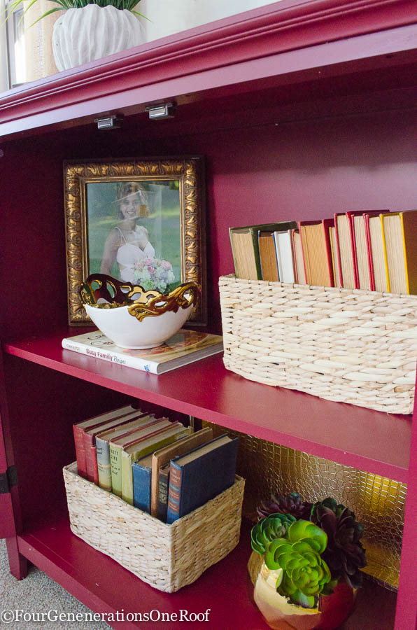 Decorating a red bookcase - Four Generations One Roof-3