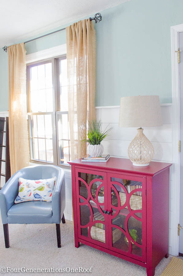 Decorating a red bookcase - Four Generations One Roof-4