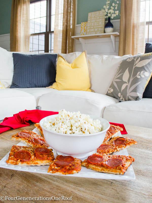 Family movie night + pizza