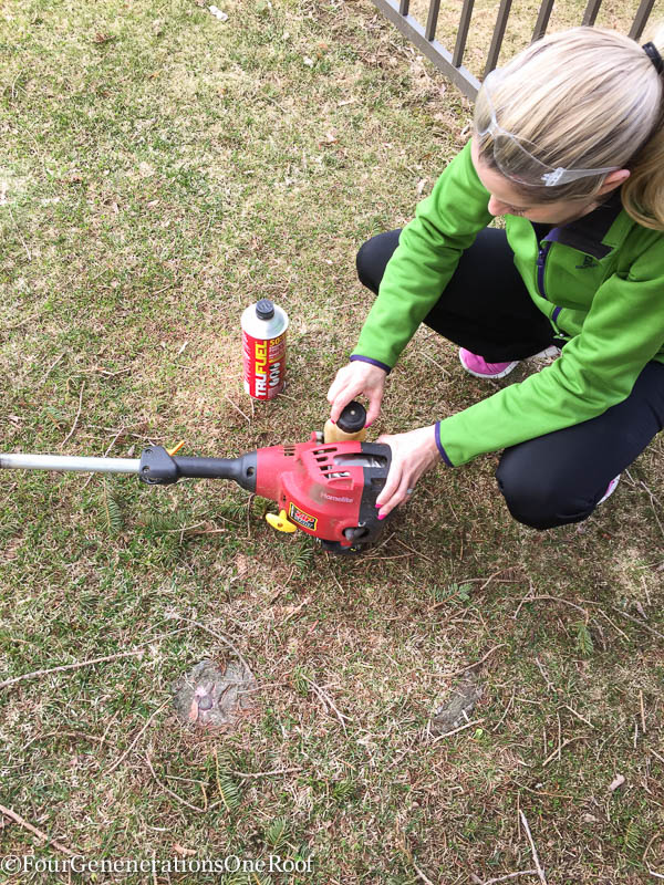 Yard cleanup made easy. Love this premixed high octane gas and oil mixture