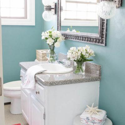 Coastal Blue Powder Room Makeover {before & after}