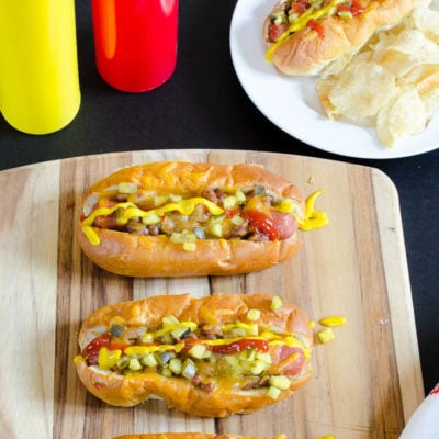 Mom's loaded baked hot dogs