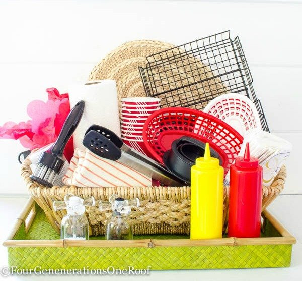 green basket, mustard and ketchup plastic containers, meat tenderizer, bbq tongs, red food basket, bbq grill basket