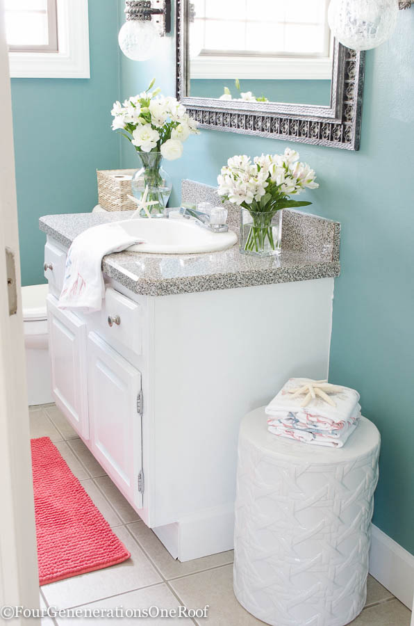 Green paint colors for bathroom - Gorgeous Blue Green Powder Room Makeover Before Amp After I Love How