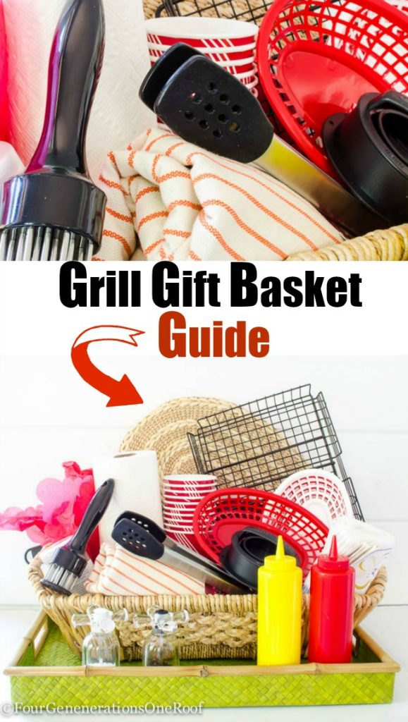 Grill Gift Basket Idea / Perfect for Father's Day or any grill lover - green basket, mustard and ketchup plastic containers, meat tenderizer, bbq tongs, red food basket, bbq grill basket