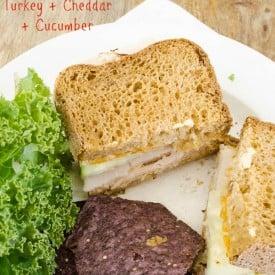 Turkey Sandwich + Cheddar + Cucumber sandwich with gluten free bread {low fodmap lunch}