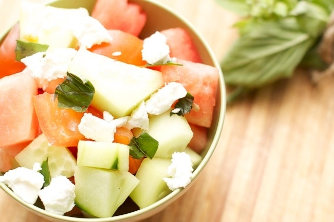 watermelon-cucumber-tomato-goat-cheese-salad