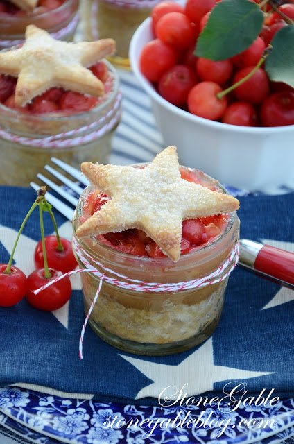 Cherry-Pie-Jar-Pastry-Star fourth of july party ideas
