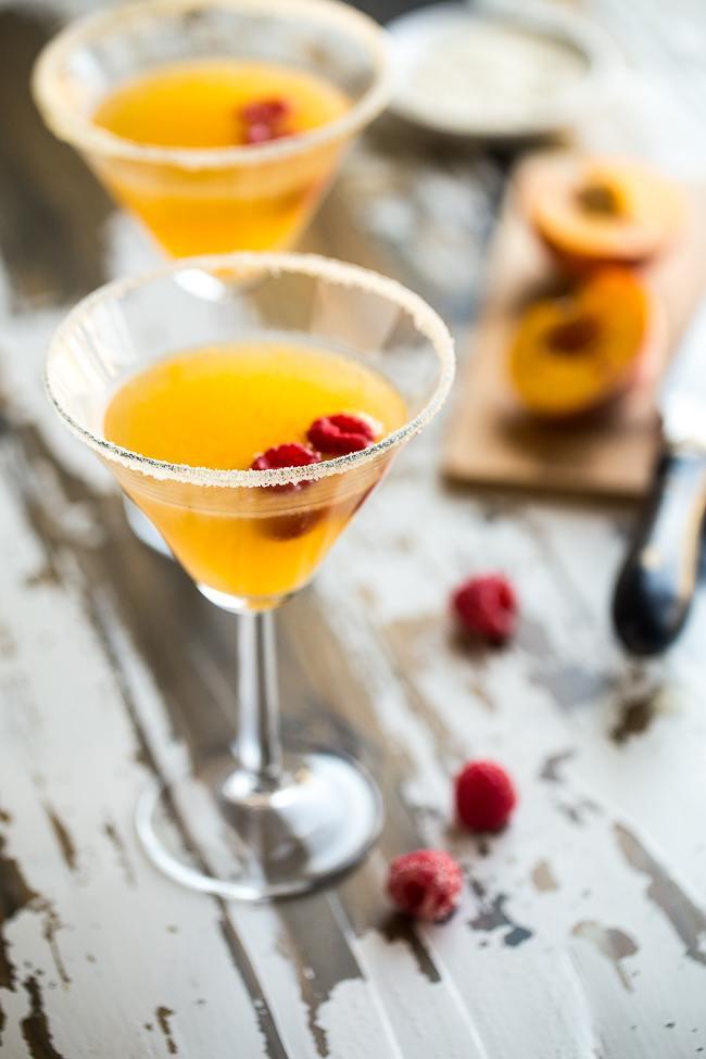 peach-martini-with raspberry