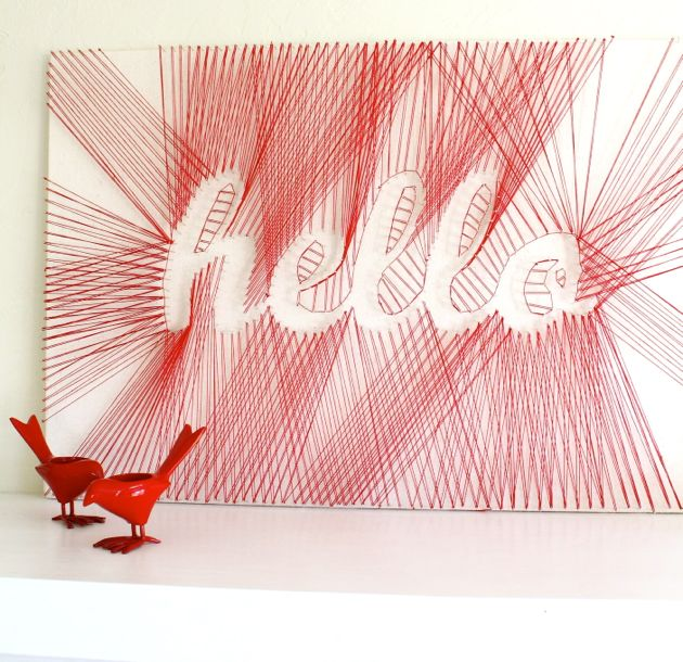 red-hello-sign-string