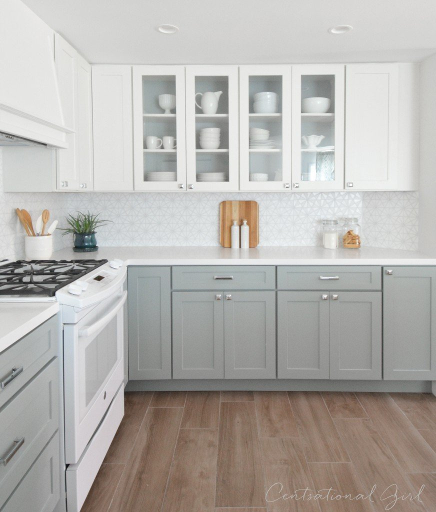 40 amazing diy kitchen renovations four generations one roof for Gray kitchen cabinets with white appliances