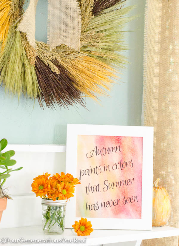 Autumn wall art printable / 23 Free Fall Printables / Fall Vignette
