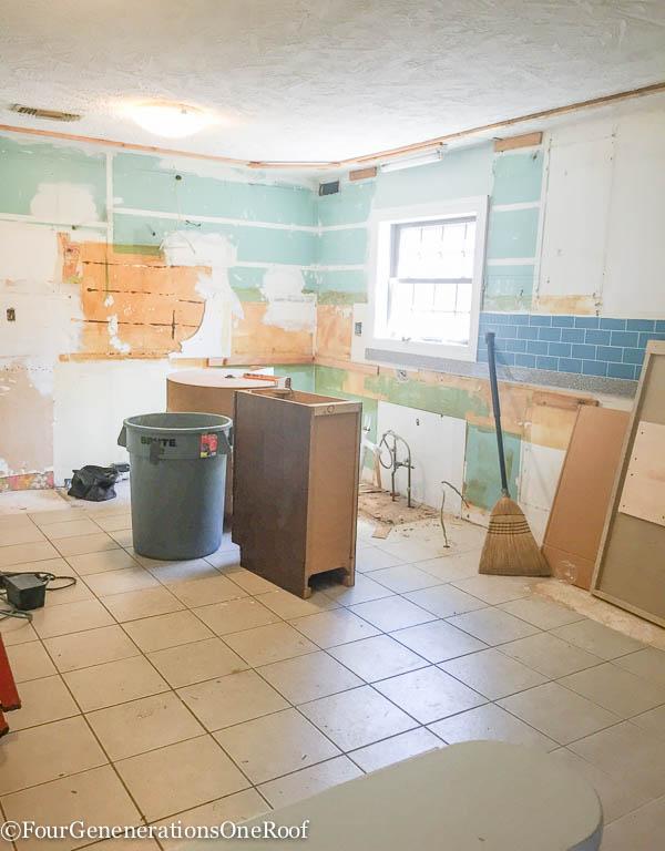 DIY Kitchen Renovation {ripping out old cabinets}. Bye Bye 1960's kitchen