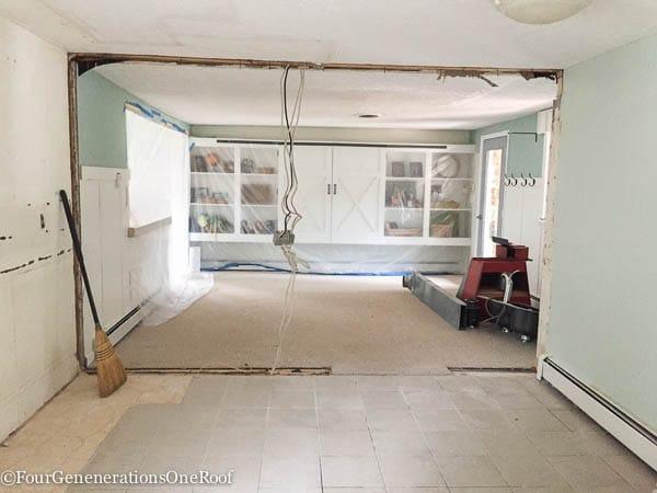 DIY Kitchen Renovation {ripping down wall}. Bye Bye 1960's kitchen