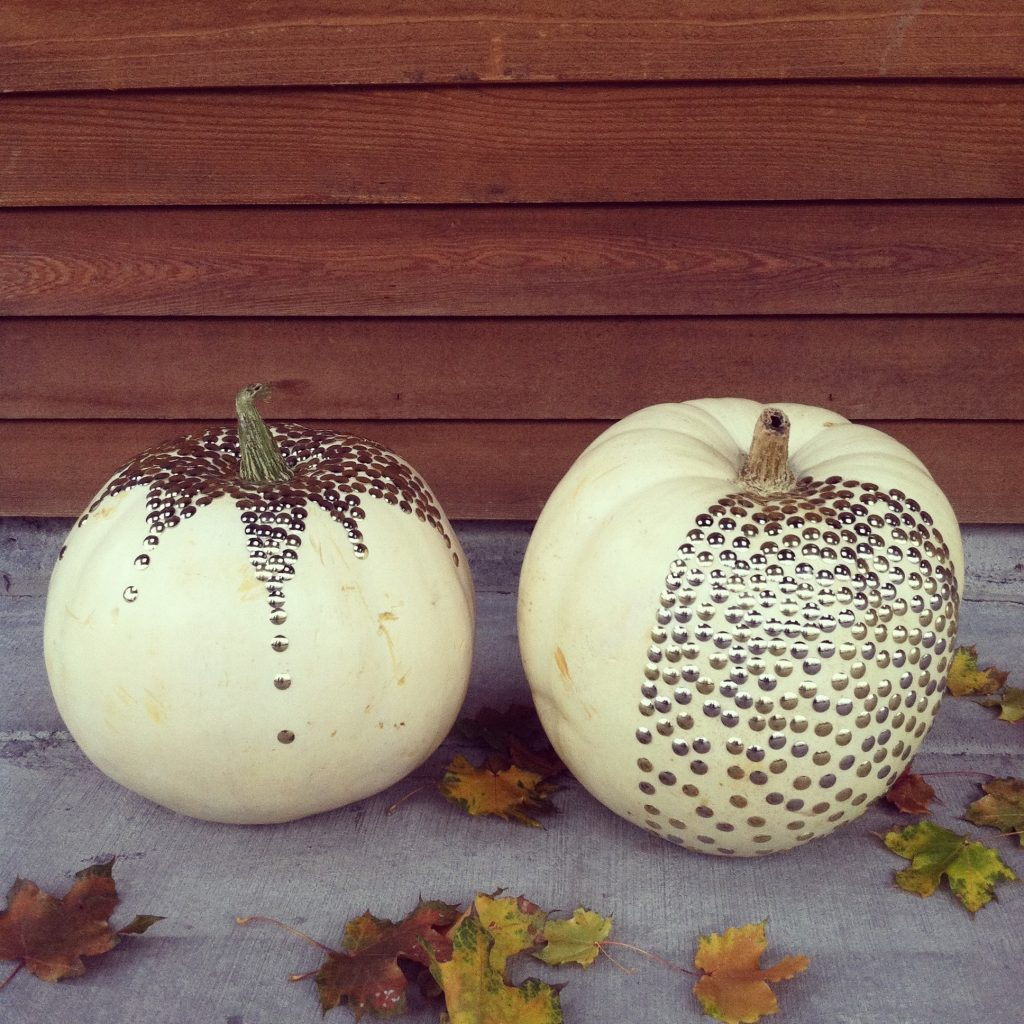 Gold thumbtack white pumpkin White pumpkin carving ideas