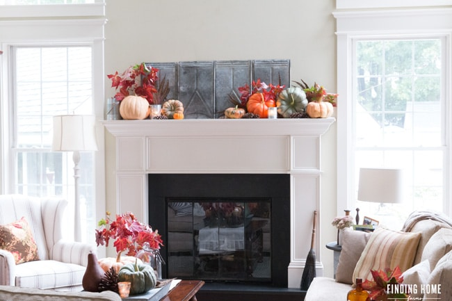 Colorful-pumpkin-mantel-coffee-table