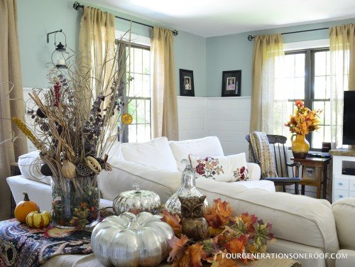 Try this decorate a fall mantel or vignette four for Home goods fall decorations