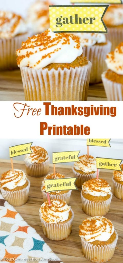 Free Thanksgiving Printable {cupcake toppers} Gather-blessed-grateful