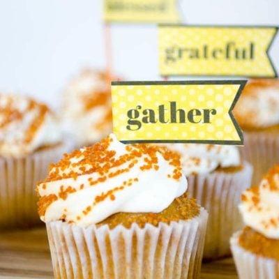 Thanksgiving Printable Cupcake Toppers {free printable}