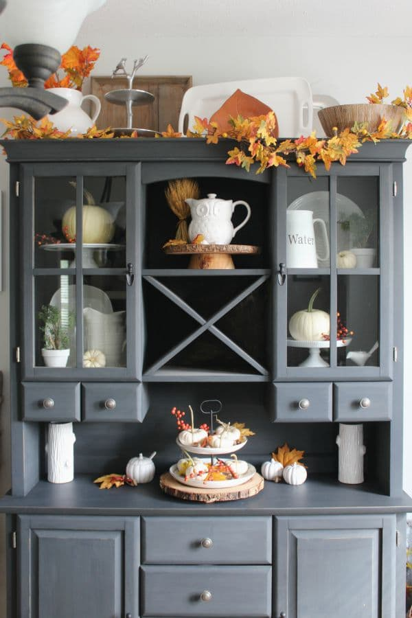 Try this decorate a fall mantel or vignette four for Hutch decor