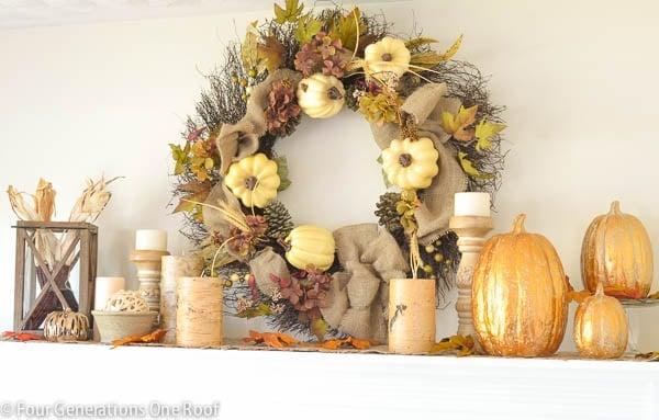 gold-pumpkin-wreath-mantel