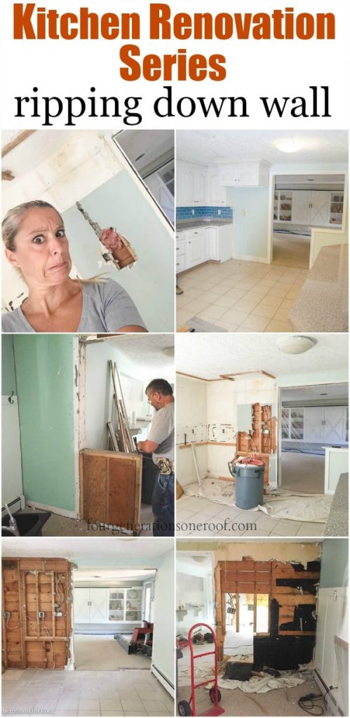 Tearing down walls in white kitchen renovation