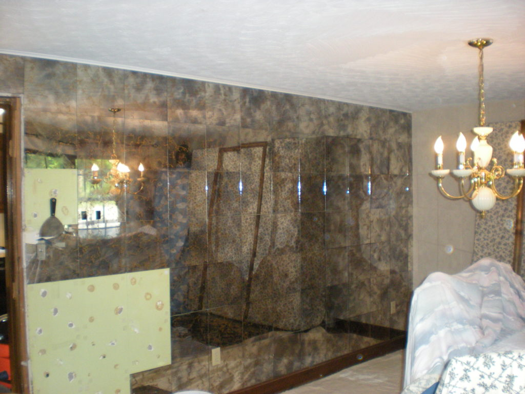 metallic glass wall in dining room 1970s dining room