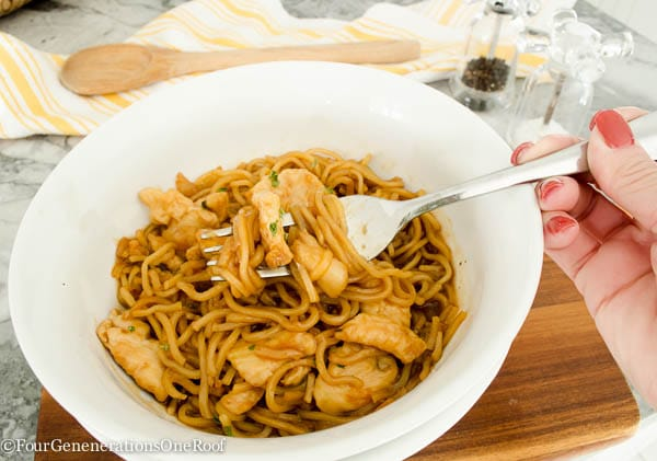Easy Asian Chicken Noodles dinner