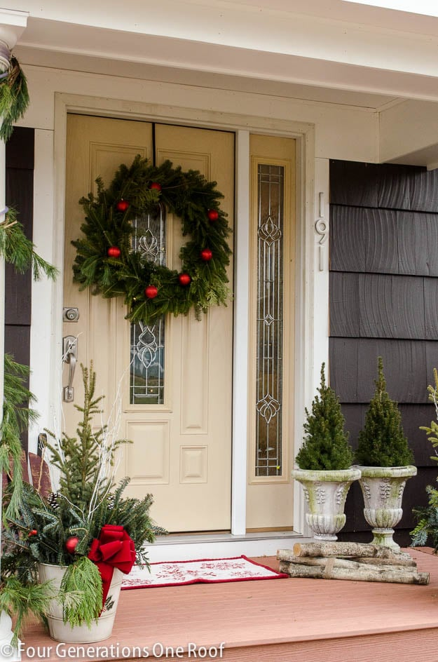 Lots-of-trees-porch & 42 Christmas Ideas for Door + Porch Decor - Four Generations One Roof Pezcame.Com