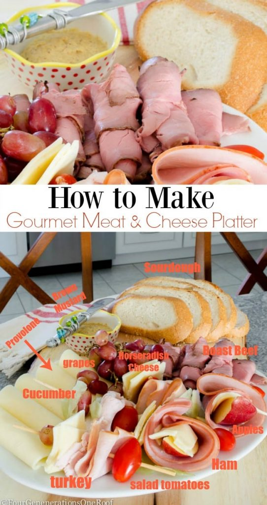 how to make a meat and cheese platter loaded with roast beef, ham, turkey, apples, grapes, tomatoes and specialty cheeses.