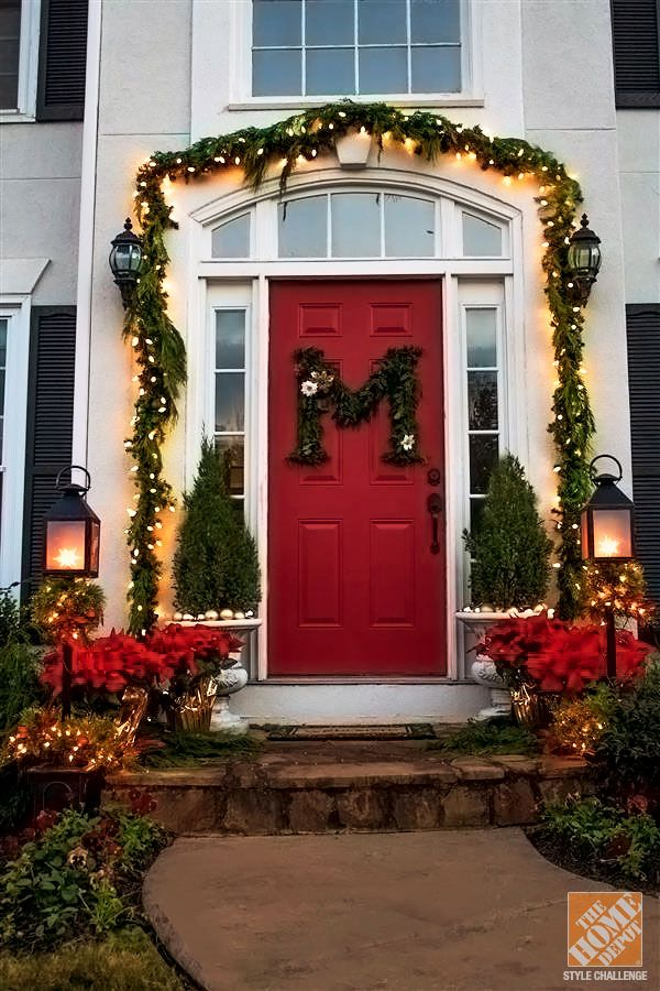 42 christmas ideas for door porch decor four for Door decorations for christmas